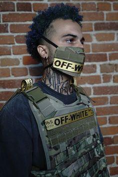 Authentic Off-White Bulletproof Vest Custom made mask and bulletproof vest online by Swag Outfits Men, Vest Outfits, Mouth Mask Fashion, Fashion Face Mask, Bullet Vest, Mens Face Mask, Face Masks, Off White Fashion, Mask Design