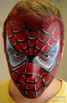 Spiderman Mask, Face paint by Tanya Maslova. Spider Man Face Paint, Spider Face Painting, Superhero Face Painting, Face Painting For Boys, Face Painting Designs, Paint Designs, Spiderman Makeup, Spiderman Face, Boy Face