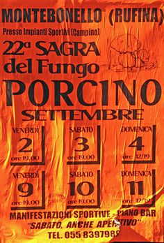 2016 - Sagra del Fungo Porcino - Porcino Mushroom Fair, Sept 2-4 and Sept. 9-11in Montebonello (Pontassieve, Florence); food booths feature many local specialties and open at 7 p.m.; from 9 p.m. live music.