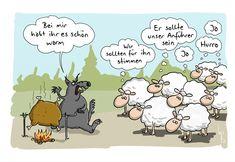Schafe 🐑 und das Herdendenken. Findest Du Alltagssituationen, die dies treffend wie dieses Comic beschreiben? Paddy Kelly, Satire, Dory, Peanuts Comics, Funny Pictures, Deep Meaning, Cartoons, Gifs, Twitter