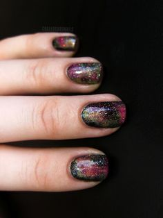 This is my favorite take on the Galaxy nails!  Chalkboard Nails: 31 Day Challenge, Day 19: Galaxy Nails