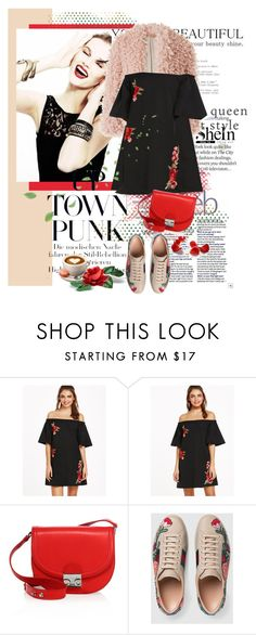 """""""Dress))"""" by janochka-547 ❤ liked on Polyvore featuring River Island, Loeffler Randall and Gucci"""