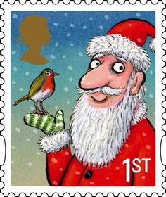 Leena, our Postationist Elf, watches as the children of Britain hang their stockings by the fireplace or a pillowcase at the end of their bed, awaiting Santa Claus. Her mouth waters when she sees them feasting of yummy desserts like mince tarts and plum pudding with brandy sauce. What a treat! (Stamp: Great Britain, 2012)