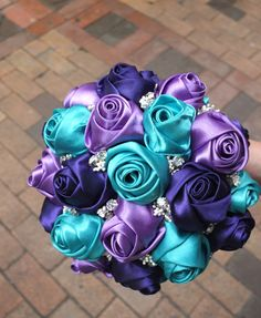 Ribbon Rose Bouquet Satin Rose Bouquet Purple by LoveMimosaFleur, $88.00