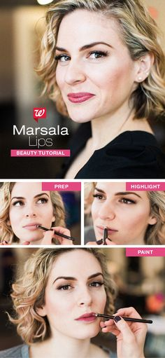 Pair a tasteful, vintage look with wine-colored lips. 1)  Exfoliate lips with a washcloth, then prime with balm for a smooth application. Apply a small amount of foundation around the lip line for contrast. 2) Enhance your cupid's bow with a light, shimmery shadow. 3) Brush Marsala lipstick onto the center of your lips, then outward. Lastly, define your lips with the lipstick & brush, or a like-color lip liner. Visit our blog for even more great tips for all your spring beauty needs!
