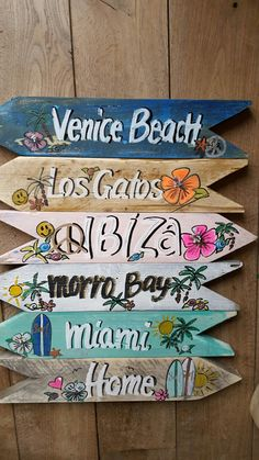 beach signs wall decor for bathroom Vintage Beach Signs, Beach Signs Wooden, Wood Signs, Paper Heart Garland, Christmas Hearts, Directional Signs, Ibiza Fashion, Hanging Hearts, Vintage Christmas Ornaments