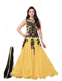 Tarumaru Ethnic Wear Designer Net Karishma Yellow Color Black Embroidered Beautiful Anarkali Semi-Stitched Gown Dress Material TaruMaru http://www.amazon.in/dp/B0176PUGI2/ref=cm_sw_r_pi_dp_z5gmwb08R973J