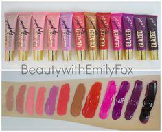 LA Girl Glazed Lip Paints - 12 new shades L-R: Whisper, Elude, Flirt, Peony, Whimsical, Tango, Gleam, Tease, Feisty, Seduce, Daring and Tempt.