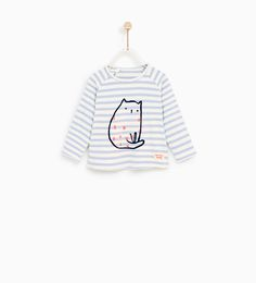 Image 1 of STRIPED CAT PRINT T-SHIRT from Zara