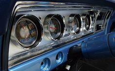68 Impala Instrument Cluster, Custom Gauges, Classic Instruments, Custom dash 1957 Chevrolet, Chevrolet Impala, Chevy Nova, Lowrider, Chrome Plating, Custom Cars, Gauges, Convertible, Instruments