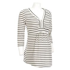 Maternity Striped Top with Y-Neck