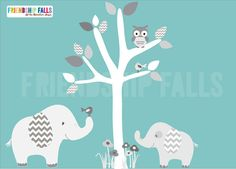Mini decal, above crib decal, Nursery Wall Decal, Childrens Wall decal, Jungle wall sticker, shades of grey nursery decor, grey and white nursery decor, grey chevron, Friendship Falls.    Friendship Falls characters are enclusive to this Etsy shop only and we are thrilled to share them with you! These characters will warm your hearts and brighten your little ones soul bringing them countless smiles!    Our mini decals are perfect to go just about anywhere! Place them over a crib, a dresser…