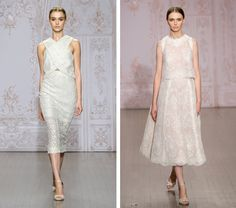 Two-piece wedding dresses are turning up in the fall 2015 lines of a number of designers.