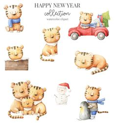 watercolor clipart - 40 elements New Year Illustration, Tiger Illustration, Christmas Banners, Christmas Clipart, My Son Birthday, Christmas And New Year, Merry Christmas, Watercolor Animals, Cute Characters