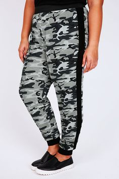 Black & Grey Camouflage Print Cuffed Harem Joggers