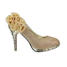 WeenFashion Women's Shiny Pumps with Five Flowers Floriation, Gold, 4.5 B(M) US