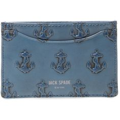 Jack Spade Men's Embossed Anchor Card Holder - Blue ($45) ❤ liked on Polyvore featuring men's fashion, men's bags, men's wallets, blue, mens wallets, mens credit card holder wallet, mens card case wallet, blue mens wallet and mens card holder wallet