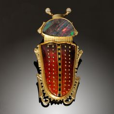 ARL106 Opal Beetle Pin - 18K, 24K Yellow Gold, Cloisonne Enamel, Opal, Diamonds by Amy Roper Lyons