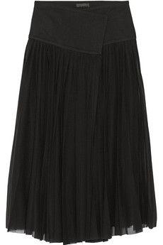 Donna Karan New York Pleated stretch silk-blend wrap skirt | THE OUTNET