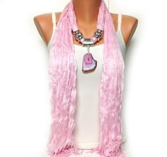 pink jewelry scarf