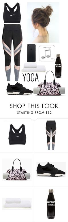 """""""Time for some yoga"""" by paoladouka ❤ liked on Polyvore featuring NIKE, Kate Spade, Balenciaga, Zara Home, beautiful, yoga and women"""