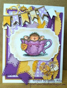 Jen's Paper Obsession, Handmade card, Tea, House Mouse, Banner dies