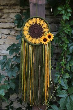 Dream catcher/Boho dreamcatcher/Hippie/Crochet doily dreamcatcher/Sunflower dream catcher/ Ribbon dreamcatcher