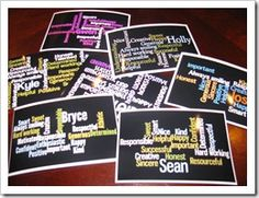 This is just made through Wordle! You can use it for a gift, or cover a bulletin board in them to introduce students.  Take the get to know you questionnaire one step further!