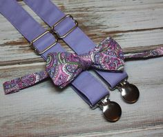 Purple Pink Green Paisley Bow Tie and Solid Lavender Suspenders Valentines Day ( Men, boys, baby, toddler, infant ) outfit by CottonKandyShop on Etsy https://www.etsy.com/listing/216242185/purple-pink-green-paisley-bow-tie-and
