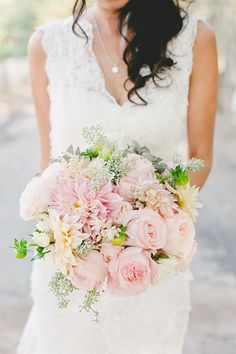 Romantic Bouquet with Blush Peonies, Dahlias, and Greenery   Brides.com