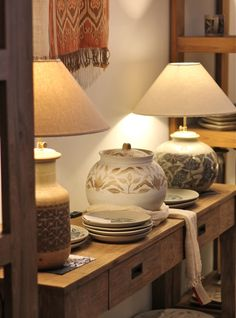 Pekunden ceramics, batik patterns on ceramic tableware and lamps
