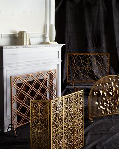 Terrific Free of Charge gold Fireplace Screen Suggestions Venn Circles Fireplace Screen Neiman Marcus Decor, Gold Fireplace Screen, Fireplace Screens, Hearth, Wood Burning Fires, Style Board, Screen, Types Of Doors, Fireplace