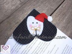 marcador de páginas de dentinho dente em feltro; bookmark tooth teeth felt christmas;