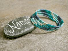 Turquoise Teal Blue Silver Bracelet Stack Bangle by AhteesDesigns