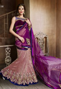 #Violet And #Golden #Brocade #Lehenga #Style #Saree #nikvik  #usa #designer #australia #canada #brocadesaree