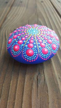 Painted rocks, painted stone, Mandala rock, handmade, acrylicpainting, stone art, rock art by denverrockshop on Etsy https://www.etsy.com/listing/548199271/painted-rocks-painted-stone-mandala-rock
