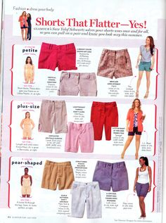 Short advice for petite, plus size, pear shaped for glamour magazine.
