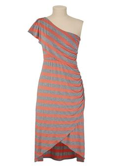 Striped High-Low One Shoulder Dress