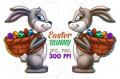 Check out Easter Bunny Carrying A Basket Of Eg by pixaroma on Creative Market