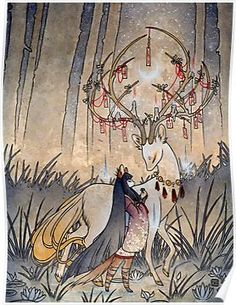 The Wish / Kitsune Fox Girl, Yokai, Deer / Japanese Asian Style / Glossy Postcard Rounded Corners Tea Fox Illustrations Art Art Inspo, Inspiration Art, Fuchs Illustration, Fantasy Illustration, Character Illustration, Art Asiatique, Style Asiatique, Fox Girl, Deer Girl