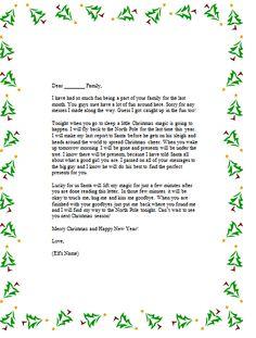 Elf on the Shelf good-bye letter