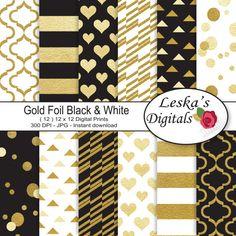Gold foil digital paper Gold Black and White by DigitalWork