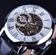 Forsining Logo Design Hollow Engraving Black Gold Case Leather Skeleton Mechanical Watches Men Luxury Brand Heren Horloge Item specifics Brand Name:FORSINING Skeleton Mechanical Watch, Skeleton Watches, Mechanical Hand, 3d Skeleton, Skagen, Fossil, Diesel, Luxury Watches For Men, Audemars Piguet