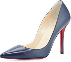 Christian Louboutin Apostrophy Pointed Red Sole Pump, Navy http://stylesvogue.com/long-heels-2014/