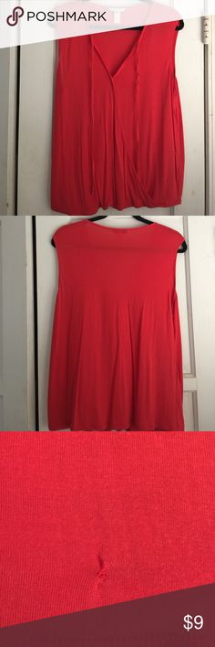 CAbi Lobster top, size L, cute keyhole opening Size Large Lobster Top, faux wrap, comfy for summer.  See photos for small repair bottom right.  Not noticeable when worn.  Dry cleaned and ready to ship CAbi Tops Tank Tops