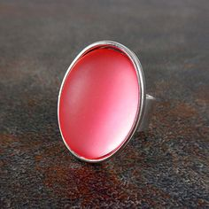 Statement Ring Pink Silver Oval Ring Cocktail Ring by Pilboxx