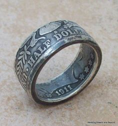 BeauTiFuL BaND TaiL SiDe ouT Silver Coin Ring MeNS BiRTHDaY GiFT 1911 Barber HaLF DoLLaR 90% Fine Silver Jewlery Size 10 1/2