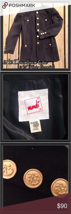 3x HP: Mondi Vintage Black Blazer; NWOT NWOT. This vintage woman's blazer in black by Mondi is soft to the touch and fully lined. It features gold colored buttons on both the front and sleeves as well as shoulder pads. 2/12 Downtown Chic and 2/15 Winter Essentials Host Picks and 9/6 Best in Outerwear Mondi Jackets & Coats Blazers
