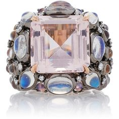 Nina Runsdorf 18K Rose Gold Morganite, Moonstone, and Diamond Ring (€14.380) ❤ liked on Polyvore featuring jewelry, rings, pink, 18k rose gold ring, 18k diamond ring, diamond rings, moonstone rings and moonstone diamond ring