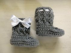 Textured slipon baby boots Heather grey with by SweetandSnazzy, $20.00